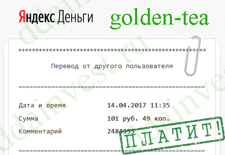golden tea платит